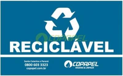 ADESIVO PARA LIXEIRA COLETA SELETIVA -  AZUL/RECICLÁVEL
